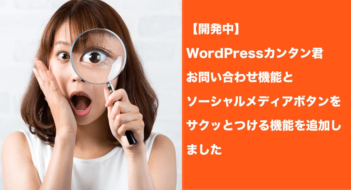 【開発中】「WordPressカンタン君」にお問い合わせ機能とソーシャルメディアボタンをサクッとつける機能を追加